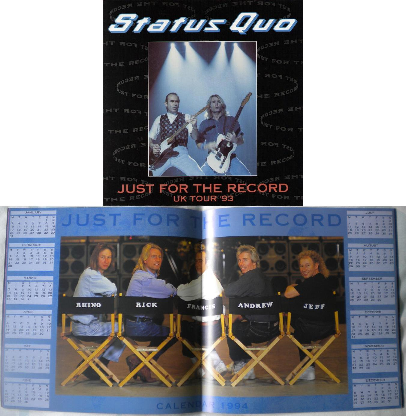 STATUS QUO - Just For The Record Uk Tour 1993